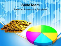Pie Chart And Coins Money Powerpoint Templates Ppt Themes And Graphics
