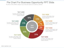 Pie Chart For Business Opportunity Ppt Slide