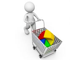 Pie Chart In Cart With 3D Man Stock Photo