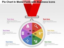 Pie Chart In Medal Formwith Business Icons Flat Powerpoint Design