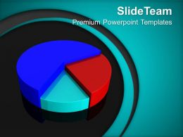 Pie Chart On Blue Background Finance PowerPoint Templates PPT Themes And Graphics 0213
