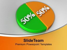 Pie Chart Showing 50 50 Factors Growth Powerpoint Templates Ppt Themes And Graphics 0213