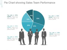 Pie Chart Showing Sales Team Performance Ppt Examples Slides