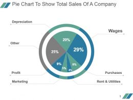 Pie Chart To Show Total Sales Of A Company Powerpoint Slide Designs Download