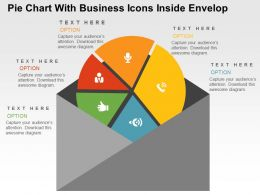 Pie Chart With Business Icons Inside Envelop Powerpoint Slides
