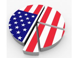 Pie Chart With Flag Of America Stock Photo