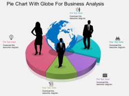Pie Chart With Globe For Business Analysis Ppt Presentation Slides