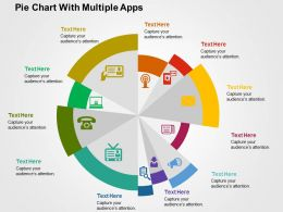 Pie Chart With Multiple Apps Flat Powerpoint Design