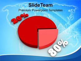 Pie Chart With Percentage 80 20 Growth PowerPoint Templates PPT Themes And Graphics 0213