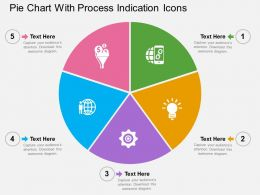 Pie Chart With Process Indication Icons Flat Powerpoint Design