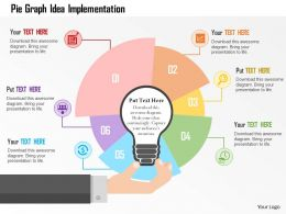 Pie Graph Idea Implementation Flat Powerpoint Design