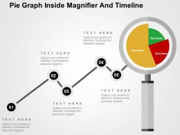 Pie Graph Inside Magnifier And Timeline Flat Powerpoint Design