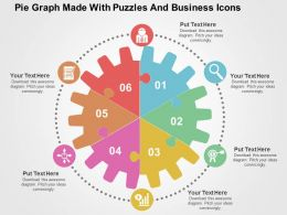 Pie Graph Made With Puzzles And Business Icons Flat Powerpoint Design