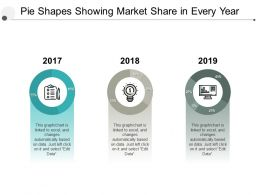 Pie Shapes Showing Market Share In Every Year