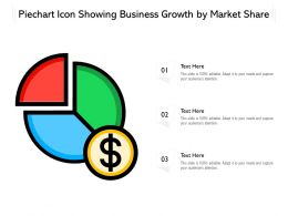 Piechart Icon Showing Business Growth By Market Share