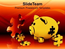 Pigg Bank And Puzzles Economic Business Powerpoint Templates Ppt Themes And Graphics 0113