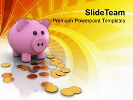 Piggy Bank And Dollar Coins Savings Powerpoint Templates Ppt Themes And Graphics 0213