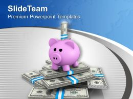 Piggy Bank And Dollar Notes Savings Business Powerpoint Templates Ppt Themes And Graphics 0313