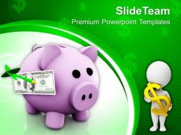 Piggy Bank And Dollars Symbol Success PowerPoint Templates PPT Themes And Graphics 0213