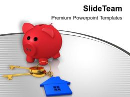 Piggy Bank And House Key Security Powerpoint Templates Ppt Themes And Graphics 0313
