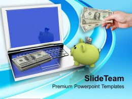 Piggy Bank And Money On Laptop Powerpoint Templates Ppt Backgrounds For Slides 0213