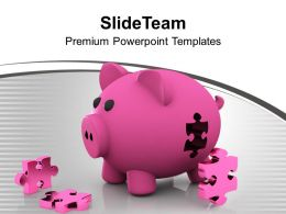 Piggy Bank And Puzzle Solution Business Powerpoint Templates Ppt Themes And Graphics 0113