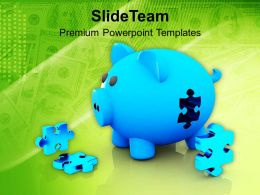Piggy Bank And Puzzles Jigsaw Savings PowerPoint Templates PPT Themes And Graphics 0213