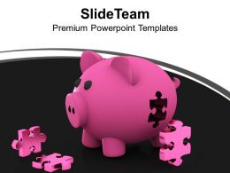 Piggy Bank And Puzzles Saving Concept PowerPoint Templates PPT Themes And Graphics 0213