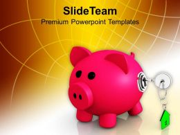 Piggy Bank Closed With Lock Security PowerPoint Templates PPT Themes And Graphics 0213