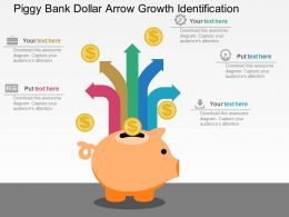 Piggy Bank Dollar Arrow Growth Identification Flat Powerpoint Design