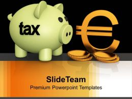 Piggy Bank Euro Concept Growth PowerPoint Templates PPT Backgrounds For Slides 0113