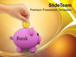 Piggy Bank Golden Coin Savings Finance PowerPoint Templates PPT Themes And Graphics 0213