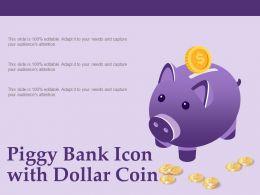 Piggy Bank Icon With Dollar Coin