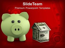 Piggy Bank Investment Savings Real Estate Powerpoint Templates Ppt Themes And Graphics 0213