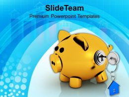 Piggy Bank Lock And Key Real Estate Powerpoint Templates Ppt Themes And Graphics 0213