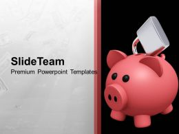 Piggy Bank Locked Secure Money Future PowerPoint Templates PPT Themes And Graphics 0113