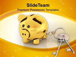 Piggy Bank Locked With Keys Finance Security Powerpoint Templates Ppt Themes And Graphics 0113