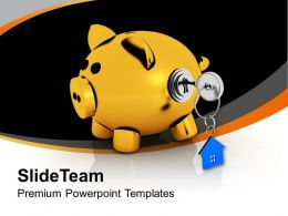 Piggy Bank Locked With Real Estate Key Powerpoint Templates Ppt Themes And Graphics 0213
