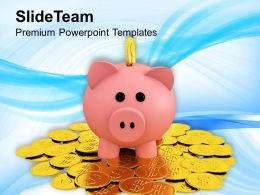 Piggy Bank On A Pile Of Coins Money Powerpoint Templates Ppt Themes And Graphics 0113