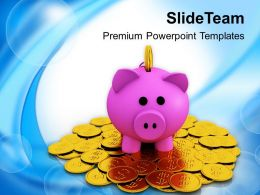 Piggy Bank On Dollar Coins Savings PowerPoint Templates PPT Themes And Graphics 0213