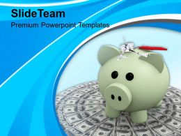 Piggy Bank On Dollar Money Savings Powerpoint Templates Ppt Themes And Graphics