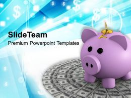 Piggy Bank On Dollar Money Security Powerpoint Templates Ppt Themes And Graphics