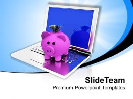 Piggy Bank On Laptop Savings Powerpoint Templates Ppt Themes And Graphics 0213