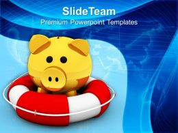 Piggy Bank On Lifeguard Savings Life Powerpoint Templates Ppt Themes And Graphics 0113