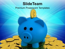 Piggy Bank On Pile Of Coins Business Powerpoint Templates Ppt Themes And Graphics