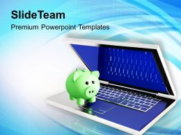 Piggy Bank Over A Laptop Powerpoint Templates Ppt Backgrounds For Slides 0213