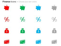 Piggy Bank Percentage Symbol Dollar Bag Money Saving Ppt Icons Graphics