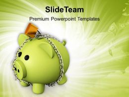 piggy bank with chain lock safety concept powerpoint templates ppt themes and graphics 0213
