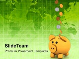 Piggy Bank With Coins Success Powerpoint Templates Ppt Themes And Graphics 0113