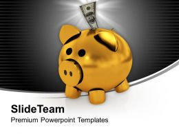 Piggy Bank With Dollar Money In It Powerpoint Templates Ppt Themes And Graphics 0213